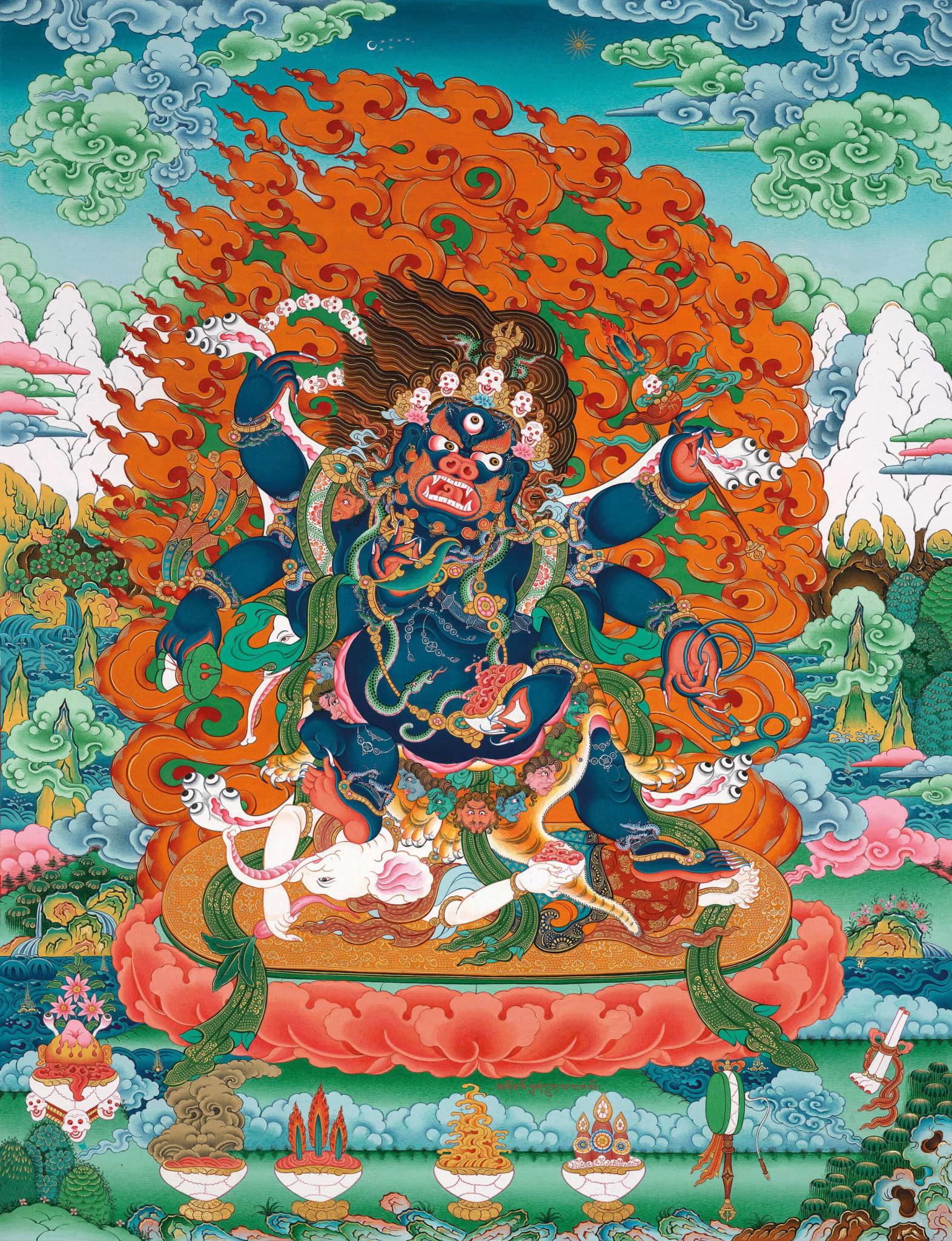 махакала, защитники учения, буддизм, искусство танка, дудко