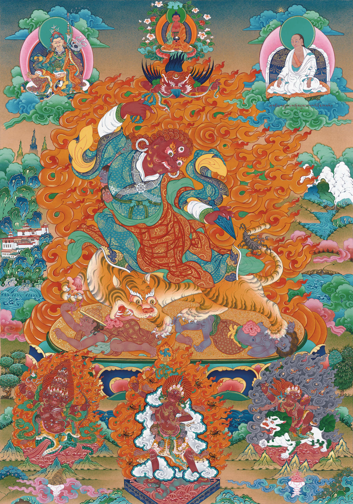 guru, dorje drolo, dzogchen, buddhist thangka art